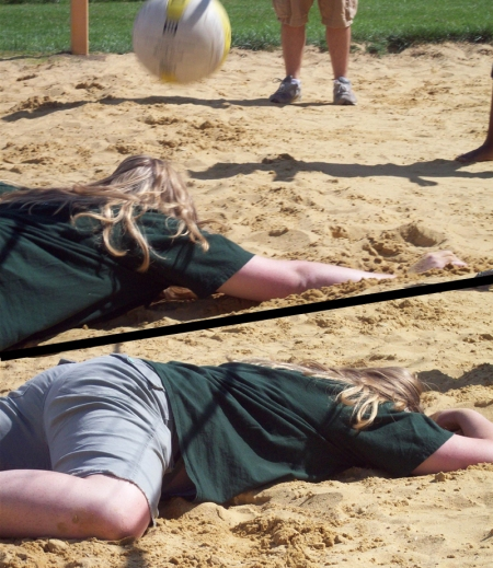 An action shot of Hannah before and after diving for a volleyball and missing.